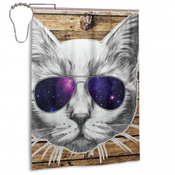 Cat With Glasses Shower Curtain , Shower Bathroom Curtain 55x72 Inch Waterproof Fabric with Hooks , Wildly used in bathroom and hotel etc.