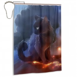 Cat Warrior Shower Curtain , Shower Bathroom Curtain 55x72 Inch Waterproof Fabric with Hooks , Wildly used in bathroom and hotel etc.