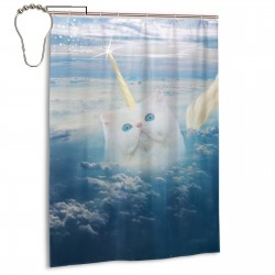 Cat Unicorn Sky Blue Shower Curtain , Shower Bathroom Curtain 55x72 Inch Waterproof Fabric with Hooks , Wildly used in bathroom and hotel etc.
