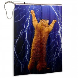 Cat Thunders Lighting Shower Curtain , Shower Bathroom Curtain 55x72 Inch Waterproof Fabric with Hooks , Wildly used in bathroom and hotel etc.