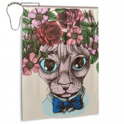 Cat Portrait With Floral Wreath. Shower Curtain , Shower Bathroom Curtain 55x72 Inch Waterproof Fabric with Hooks , Wildly used in bathroom and hotel etc.