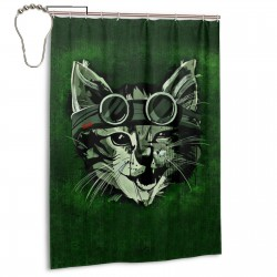 Cat Pilots Shower Curtain , Shower Bathroom Curtain 55x72 Inch Waterproof Fabric with Hooks , Wildly used in bathroom and hotel etc.