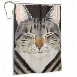 Cat Nap Shower Curtain , Shower Bathroom Curtain 55x72 Inch Waterproof Fabric with Hooks , Wildly used in bathroom and hotel etc.