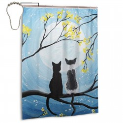 Cat Moon Shower Curtain , Shower Bathroom Curtain 55x72 Inch Waterproof Fabric with Hooks , Wildly used in bathroom and hotel etc.
