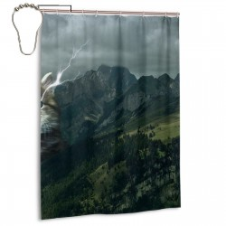 Cat Lightning Crown Mountains Shower Curtain , Shower Bathroom Curtain 55x72 Inch Waterproof Fabric with Hooks , Wildly used in bathroom and hotel etc.