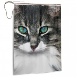 Cat Kitten Eye Shower Curtain , Shower Bathroom Curtain 55x72 Inch Waterproof Fabric with Hooks , Wildly used in bathroom and hotel etc.