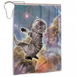 Cat In Space Shower Curtain , Shower Bathroom Curtain 55x72 Inch Waterproof Fabric with Hooks , Wildly used in bathroom and hotel etc.