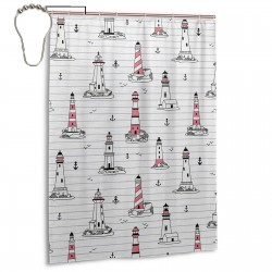 Nautical Elements Seagulls And Anchors Style Shower Curtain , Shower Bathroom Curtain 55x72 Inch Waterproof Fabric with Hooks , Wildly used in bathroom and hotel etc.