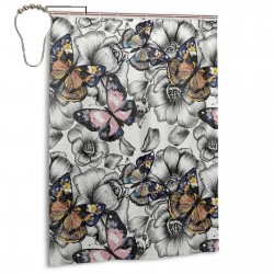 Monarch Butterflies On Hand Drawn Flowers Shower Curtain , Shower Bathroom Curtain 55x72 Inch Waterproof Fabric with Hooks , Wildly used in bathroom and hotel etc.