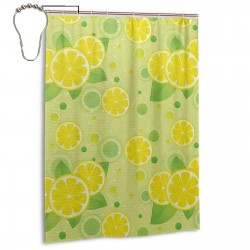 Lemon Lime Pattern Shower Curtain , Shower Bathroom Curtain 55x72 Inch Waterproof Fabric with Hooks , Wildly used in bathroom and hotel etc.