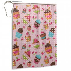 Kitchen Cupcakes Shower Curtain , Shower Bathroom Curtain 55x72 Inch Waterproof Fabric with Hooks , Wildly used in bathroom and hotel etc.