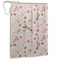 Japanese Flowering Cherry Blossom Shower Curtain , Shower Bathroom Curtain 55x72 Inch Waterproof Fabric with Hooks , Wildly used in bathroom and hotel etc.