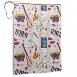 Instruments Drums Speakers Shower Curtain , Shower Bathroom Curtain 55x72 Inch Waterproof Fabric with Hooks , Wildly used in bathroom and hotel etc.