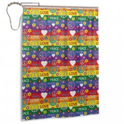 Heart Peace Flower Power Political Hippie Shower Curtain , Shower Bathroom Curtain 55x72 Inch Waterproof Fabric with Hooks , Wildly used in bathroom and hotel etc.