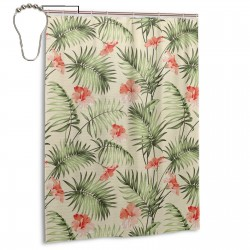 Hawaiian Aloha Nature Pattern Shower Curtain , Shower Bathroom Curtain 55x72 Inch Waterproof Fabric with Hooks , Wildly used in bathroom and hotel etc.