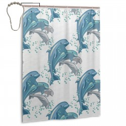 Happy Dolphins Jumping Shower Curtain , Shower Bathroom Curtain 55x72 Inch Waterproof Fabric with Hooks , Wildly used in bathroom and hotel etc.