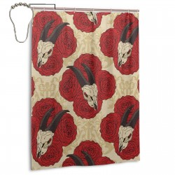Goat Skull On Red Roses Horn Pattern Shower Curtain , Shower Bathroom Curtain 55x72 Inch Waterproof Fabric with Hooks , Wildly used in bathroom and hotel etc.