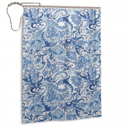 Floral Elements Grunge Ornate Shower Curtain , Shower Bathroom Curtain 55x72 Inch Waterproof Fabric with Hooks , Wildly used in bathroom and hotel etc.