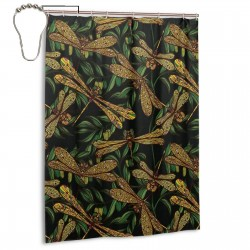Dragonflies And Green Olive Branches Shower Curtain , Shower Bathroom Curtain 55x72 Inch Waterproof Fabric with Hooks , Wildly used in bathroom and hotel etc.
