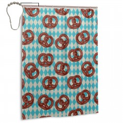 Deutschland Salty Pretzels Shower Curtain , Shower Bathroom Curtain 55x72 Inch Waterproof Fabric with Hooks , Wildly used in bathroom and hotel etc.