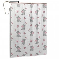 Cut Elephant. Shower Curtain , Shower Bathroom Curtain 55x72 Inch Waterproof Fabric with Hooks , Wildly used in bathroom and hotel etc.