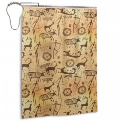 Dated Irregular Caveman Paint Shower Curtain , Shower Bathroom Curtain 55x72 Inch Waterproof Fabric with Hooks , Wildly used in bathroom and hotel etc.