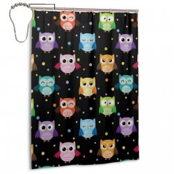 Colorful Owls Shower Curtain , Shower Bathroom Curtain 55x72 Inch Waterproof Fabric with Hooks , Wildly used in bathroom and hotel etc.