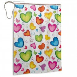 Colorful Hearts Shower Curtain , Shower Bathroom Curtain 55x72 Inch Waterproof Fabric with Hooks , Wildly used in bathroom and hotel etc.