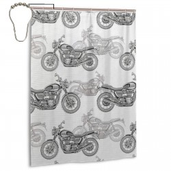 Classic Motorcycles Shower Curtain , Shower Bathroom Curtain 55x72 Inch Waterproof Fabric with Hooks , Wildly used in bathroom and hotel etc.