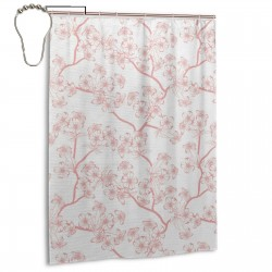 Cherry Blossom Shower Curtain , Shower Bathroom Curtain 55x72 Inch Waterproof Fabric with Hooks , Wildly used in bathroom and hotel etc.