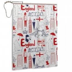 British Cultural Composition In Doodle Shower Curtain , Shower Bathroom Curtain 55x72 Inch Waterproof Fabric with Hooks , Wildly used in bathroom and hotel etc.