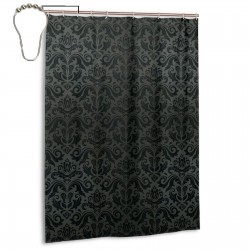 Black Damask And Floral Elements Oriental Antique Ornament Vintage Shower Curtain , Shower Bathroom Curtain 55x72 Inch Waterproof Fabric with Hooks , Wildly used in bathroom and hotel etc.