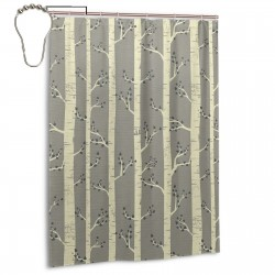 Birch Tree Branches Shower Curtain , Shower Bathroom Curtain 55x72 Inch Waterproof Fabric with Hooks , Wildly used in bathroom and hotel etc.