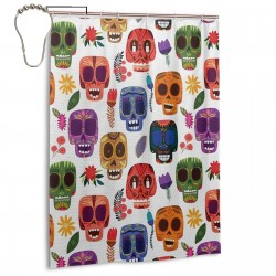 Artwork Wooden Scary Cartoon Shower Curtain , Shower Bathroom Curtain 55x72 Inch Waterproof Fabric with Hooks , Wildly used in bathroom and hotel etc.