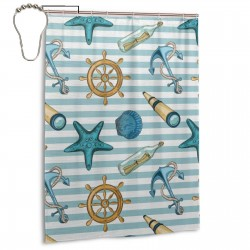 Anchor Wheel Starfish Seashell Shower Curtain , Shower Bathroom Curtain 55x72 Inch Waterproof Fabric with Hooks , Wildly used in bathroom and hotel etc.