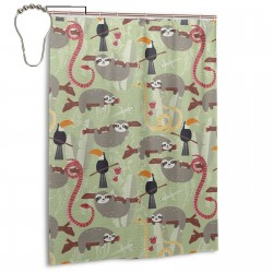 Amazon Rainforest Toucans And Sloths Shower Curtain , Shower Bathroom Curtain 55x72 Inch Waterproof Fabric with Hooks , Wildly used in bathroom and hotel etc.