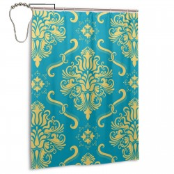 Yellow Decorative Pattern Shower Curtain , Shower Bathroom Curtain 55x72 Inch Waterproof Fabric with Hooks , Wildly used in bathroom and hotel etc.
