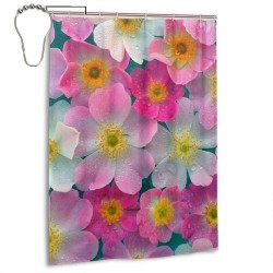 World Most Beautiful Flower Shower Curtain , Shower Bathroom Curtain 55x72 Inch Waterproof Fabric with Hooks , Wildly used in bathroom and hotel etc.