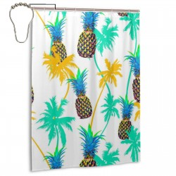 Colorful Pineapple Shower Curtain , Shower Bathroom Curtain 55x72 Inch Waterproof Fabric with Hooks , Wildly used in bathroom and hotel etc.