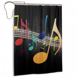 Colorful Music Note Art Shower Curtain , Shower Bathroom Curtain 55x72 Inch Waterproof Fabric with Hooks , Wildly used in bathroom and hotel etc.
