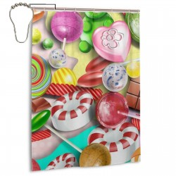 Colorful Lollipop Shower Curtain , Shower Bathroom Curtain 55x72 Inch Waterproof Fabric with Hooks , Wildly used in bathroom and hotel etc.