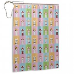 Colorful Llama Invasion Shower Curtain , Shower Bathroom Curtain 55x72 Inch Waterproof Fabric with Hooks , Wildly used in bathroom and hotel etc.