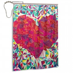 Colorful Heart Shower Curtain , Shower Bathroom Curtain 55x72 Inch Waterproof Fabric with Hooks , Wildly used in bathroom and hotel etc.