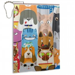 Colorful Funny Cats And Dogs Print Shower Curtain , Shower Bathroom Curtain 55x72 Inch Waterproof Fabric with Hooks , Wildly used in bathroom and hotel etc.