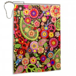 Colorful Flower Print Peace Sign Shower Curtain , Shower Bathroom Curtain 55x72 Inch Waterproof Fabric with Hooks , Wildly used in bathroom and hotel etc.