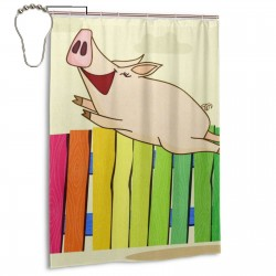 Colorful Fly Pig Shower Curtain , Shower Bathroom Curtain 55x72 Inch Waterproof Fabric with Hooks , Wildly used in bathroom and hotel etc.