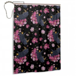 Colorful Floral Fantasy Rhinoceros 副本 Shower Curtain , Shower Bathroom Curtain 55x72 Inch Waterproof Fabric with Hooks , Wildly used in bathroom and hotel etc.
