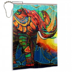 Colorful Elephant Shower Curtain , Shower Bathroom Curtain 55x72 Inch Waterproof Fabric with Hooks , Wildly used in bathroom and hotel etc.