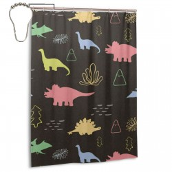 Colorful Dinosaur Animal Shower Curtain , Shower Bathroom Curtain 55x72 Inch Waterproof Fabric with Hooks , Wildly used in bathroom and hotel etc.