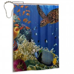 Colorful Coral Reef Turtle Shower Curtain , Shower Bathroom Curtain 55x72 Inch Waterproof Fabric with Hooks , Wildly used in bathroom and hotel etc.